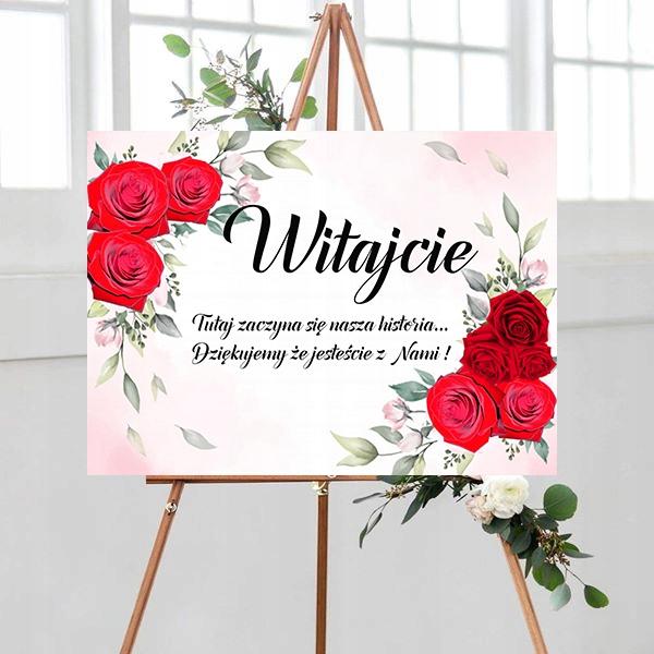 Tablica powitalna, motyw kwiatowy, czerwone róże