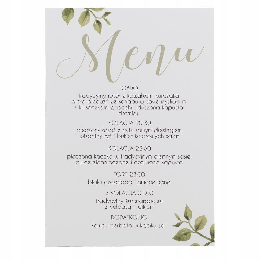 Menu ślubne weselne karta dań na wesele rustykalne