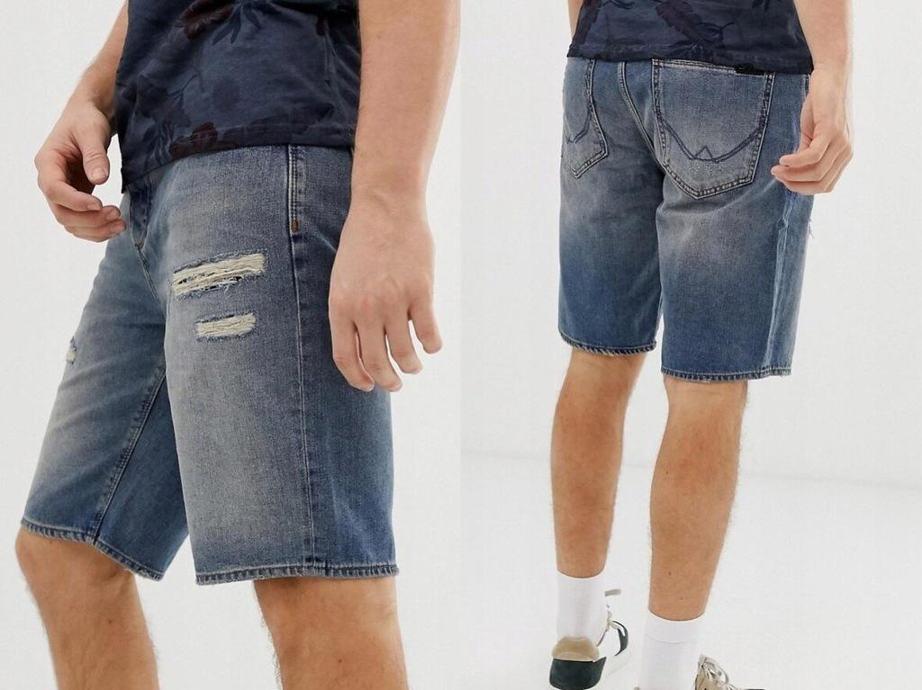 Superdry - Luźne jeansowe szorty M