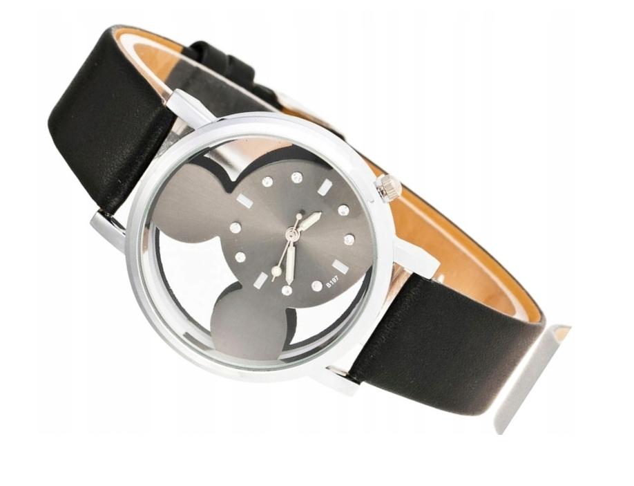 Zegarek damski srebrny Mickey myszka pasek czarny
