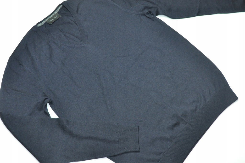 ATT sweter Nigel Hall wełna granat serek rozmiar S