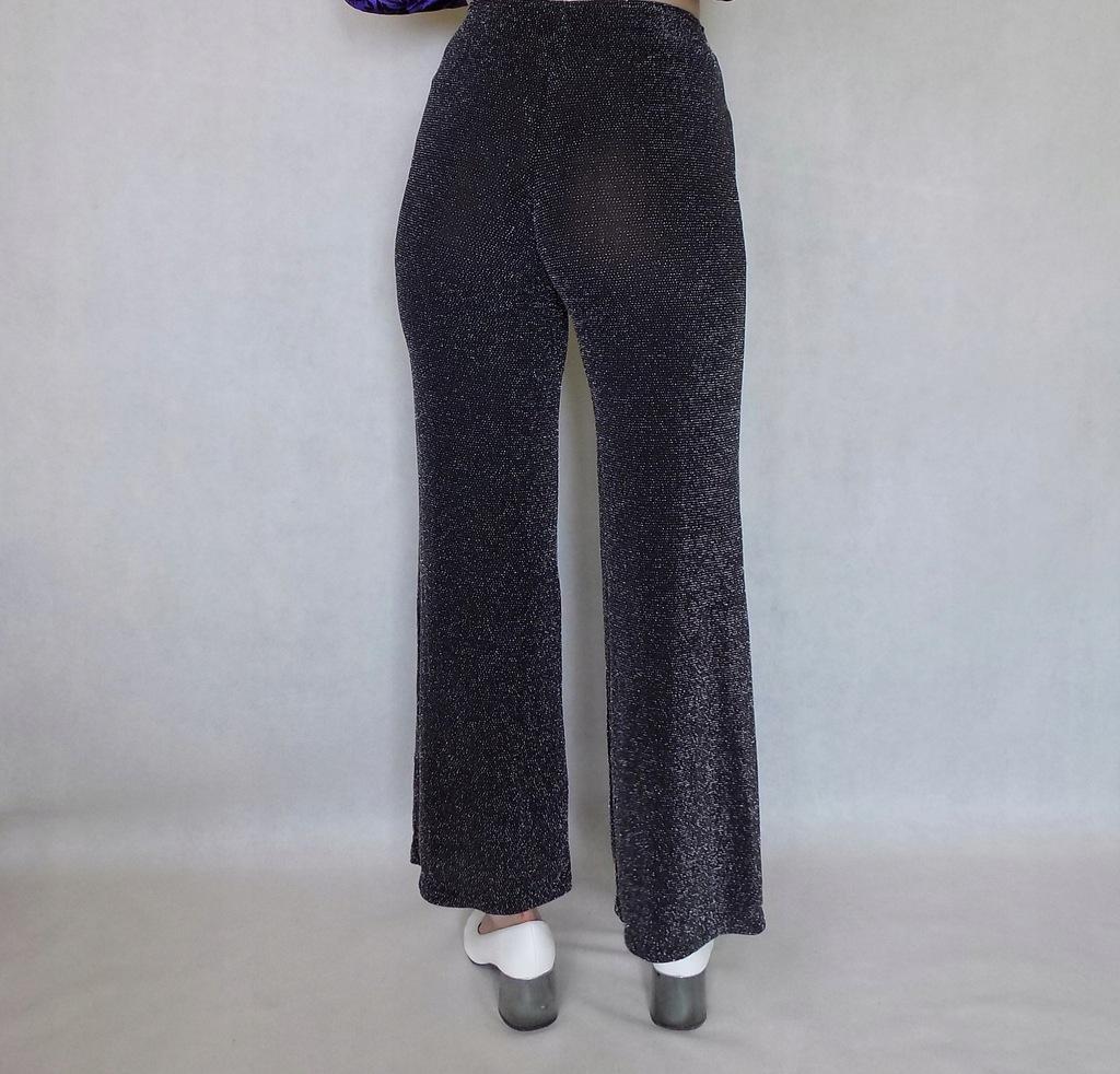 czarne brokatowe spodnie vintage retro dzwony XS S