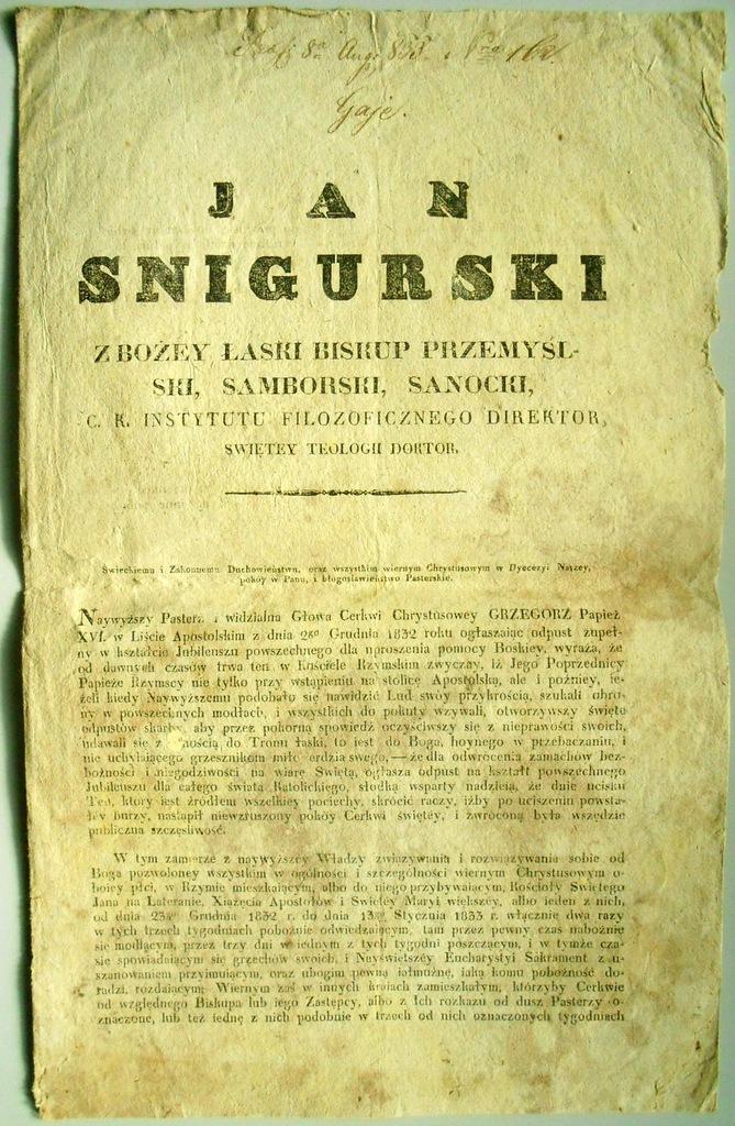 JAN ŚNIGURSKI PRZEMYŚL 1833