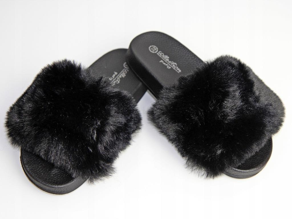 Klapki z futrem DD-9003-1 futerko czarne 32