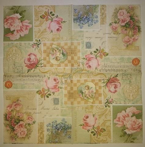 Serwetka decoupage retro mix róże kwiaty 2szt=komp