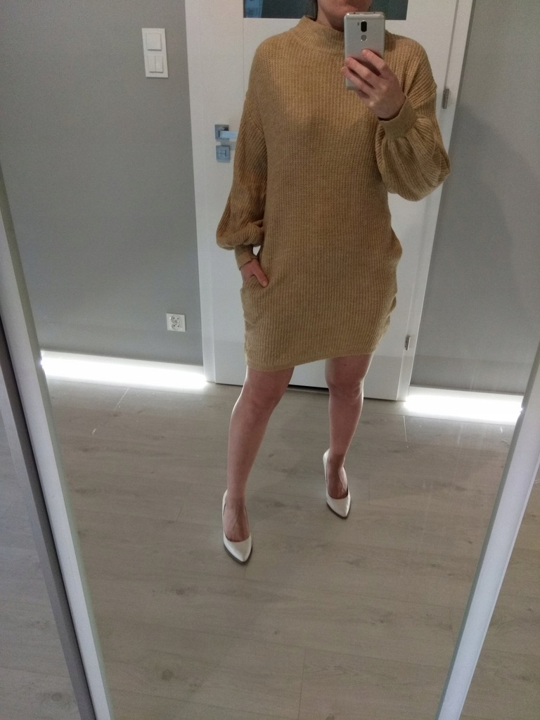 Primark beżowy sweter sukienka długi brąz