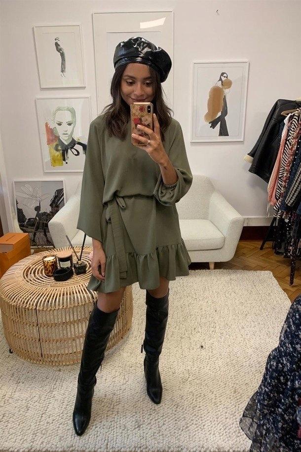 LAURELLA Sukienka Natalie khaki nowa One size