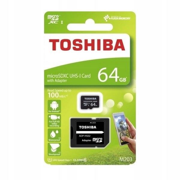 Karta pamięci microSDHC 64GB Toshiba 10C 100MB/s