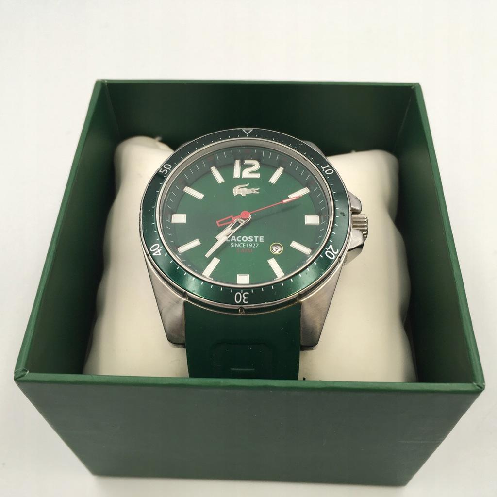 c30 LACOSTE zegarek męski zielony pasek guma