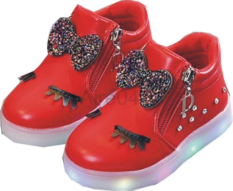 Dziecięce Buty LED Urocze Dziewczęce n Czerwone 25