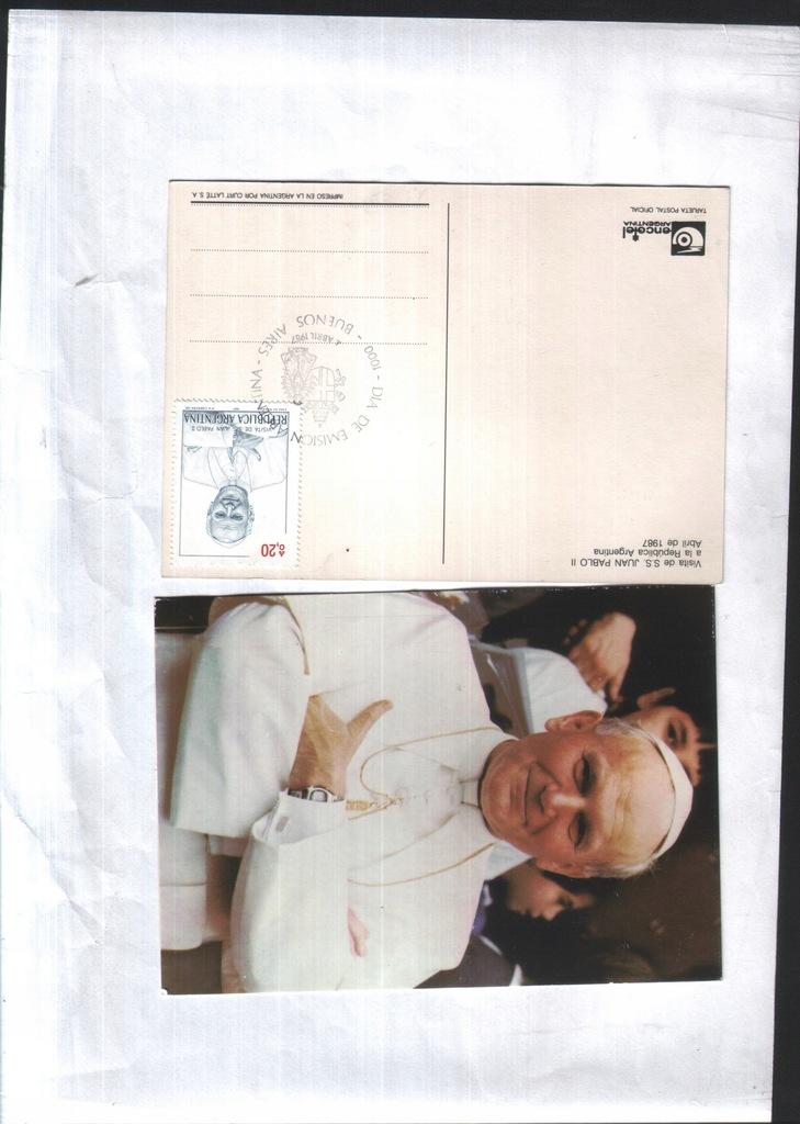 Filatelistyka - Argentyna-1987- JPII - zn. i stemp
