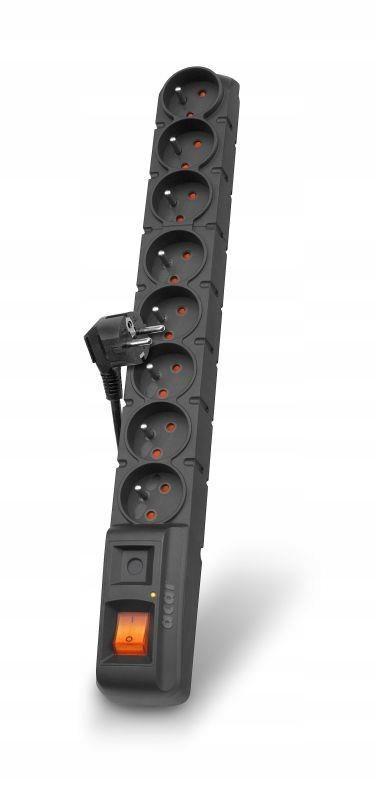 Listwa zasilająca Acar S8 1,5m czarna automat