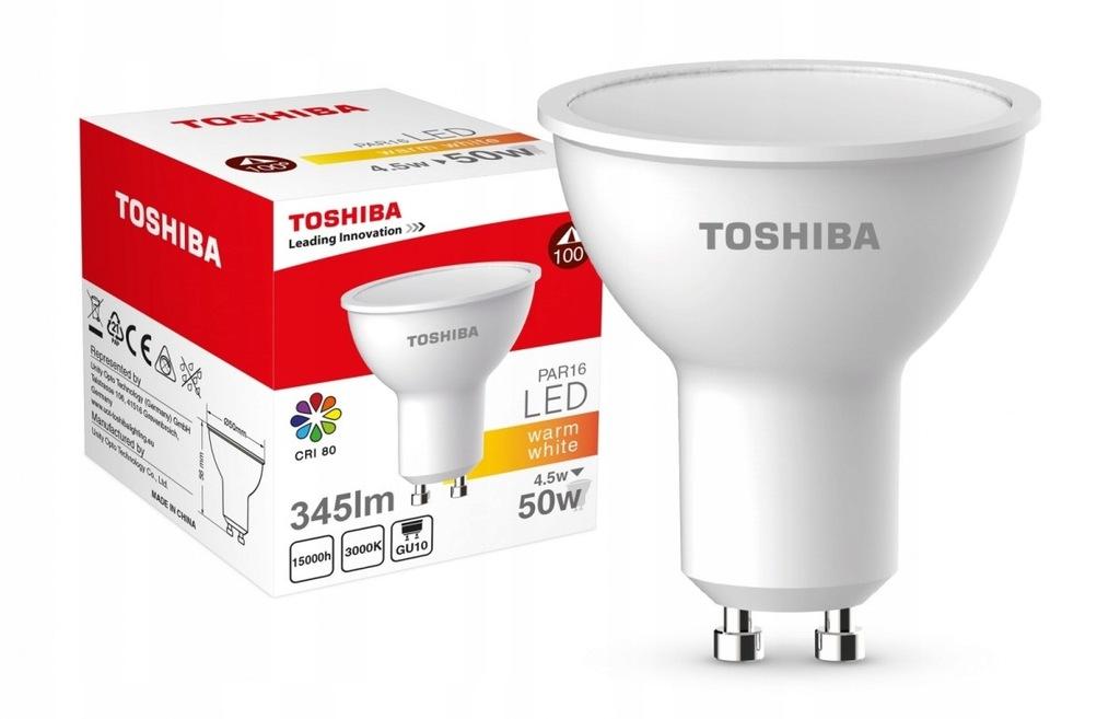 TOSHIBA Lampa LED 4,5W 230V 345lm b.ciepły GU10