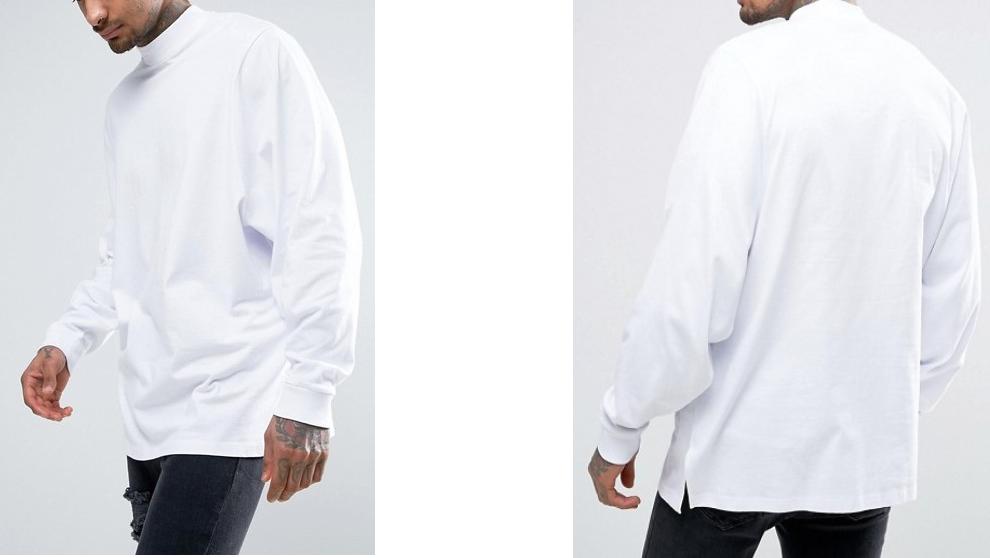 A260 koszulka t-shirt biały długi rękaw S