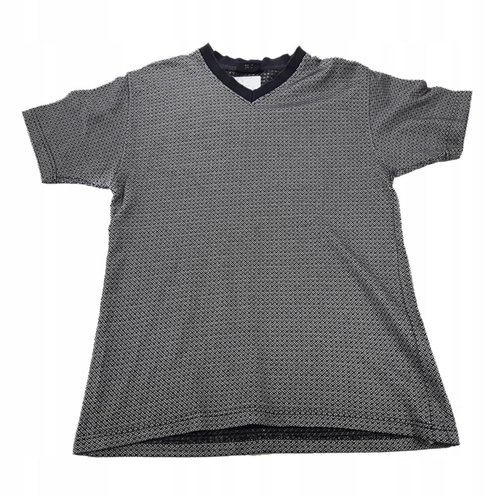 6107 NEXT czarno szary tshirt męski melanżowy L