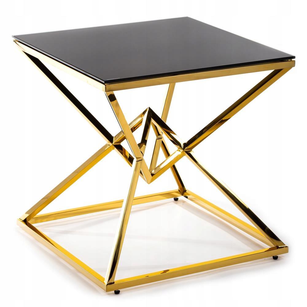 Stylowy złoty stolik kawowy do biura szklany blat