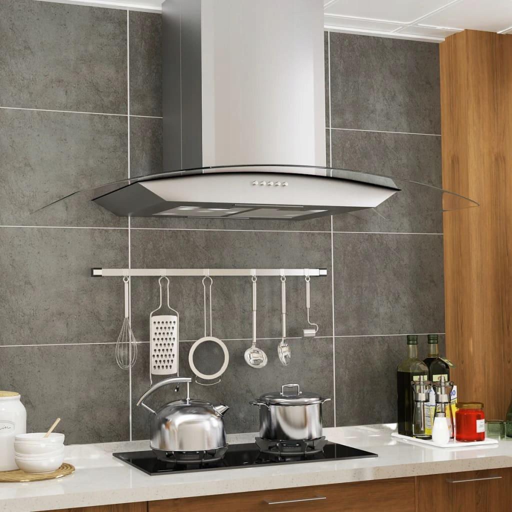 Okap kuchenny LED, ścienny, stal nierdzewna, 90 cm