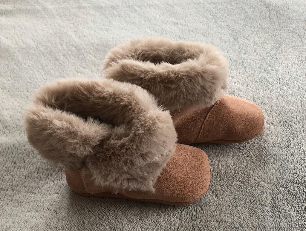 Skórzane botki zimowe dla dziewczynki ZARA MINI