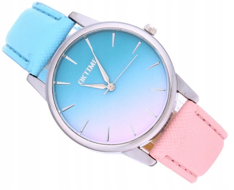 Zegarek Damski OMBRE różowy niebieski SREBRNY