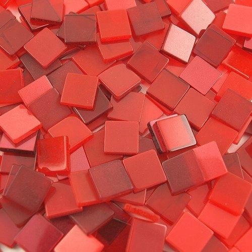 Mozaika ton in ton czerwona 10x10 mm - 190 sztuk