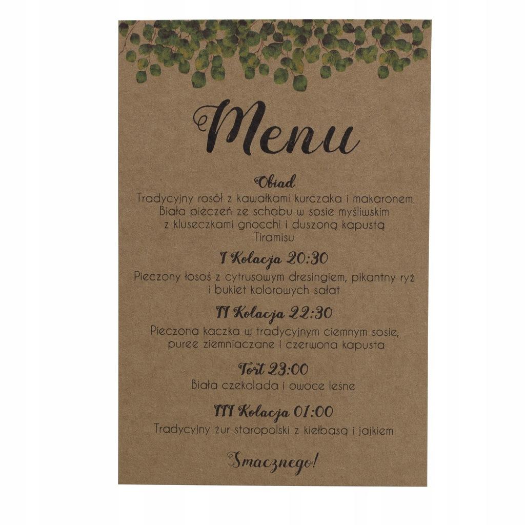 Menu weselne ślubne karta dań rustykalne eko