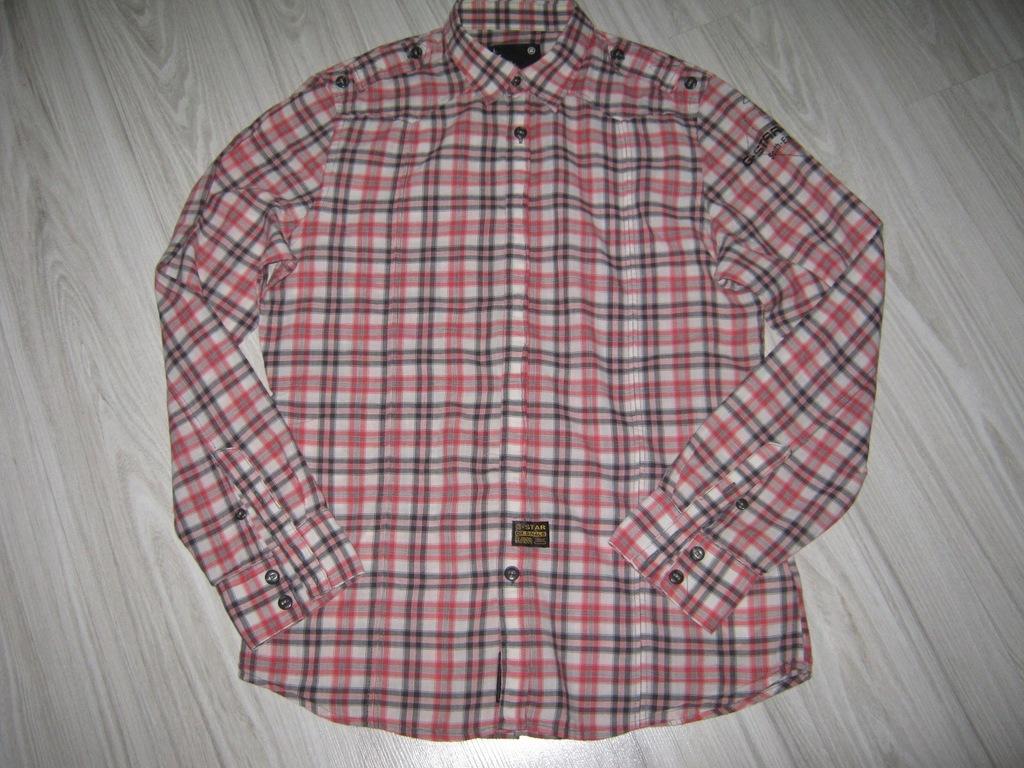 G-STAR koszula długi rękaw cienka bawełna kratka L