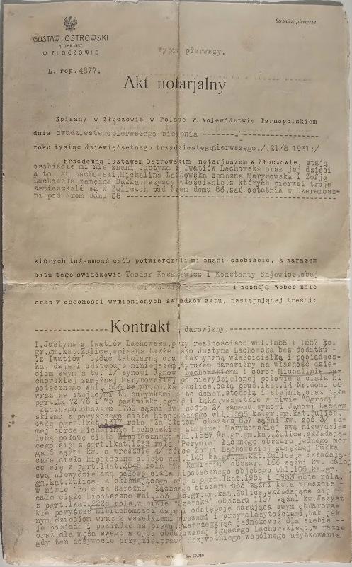 AKT NOTARIALNY ZŁOCZÓW 1931