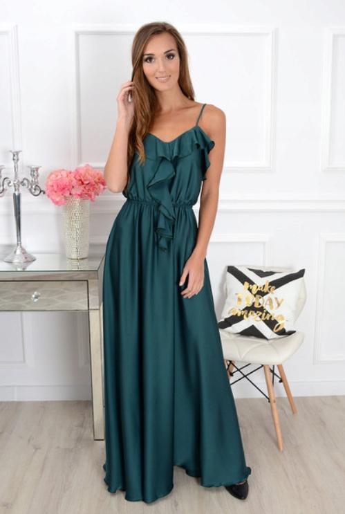 Sukienka maxi długa butelkowa zieleń wesele