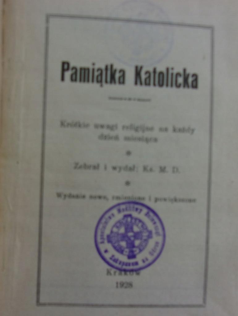Pamiątka katolicka 1928 r.