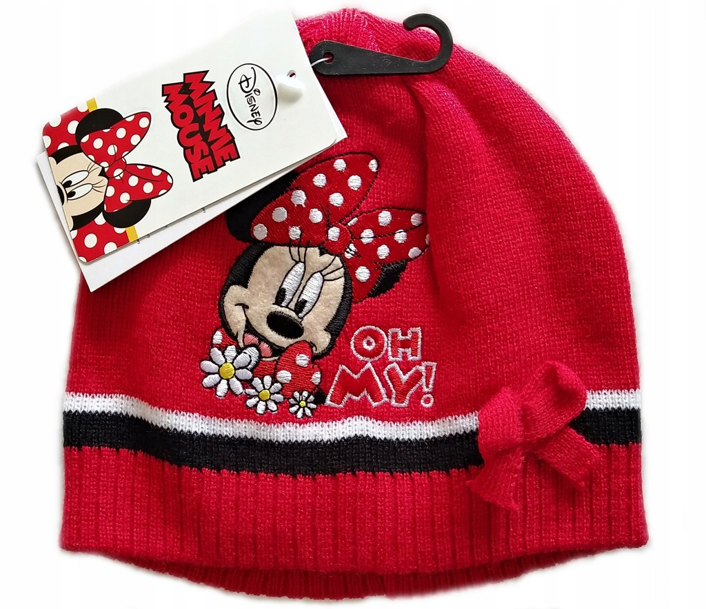 Ciepła CZAPKA Disney MYSZKA MINNE Akryl RED r 54