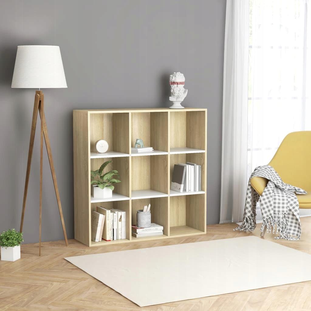 Regał na książki, biel i dąb sonoma, 98x30x98 cm,