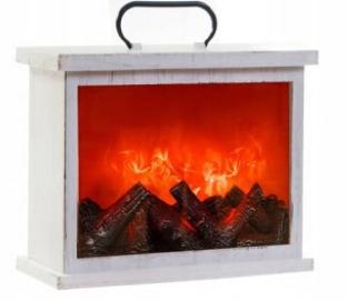 Kominek LED Latarnia Lampion imitacja ognia biały