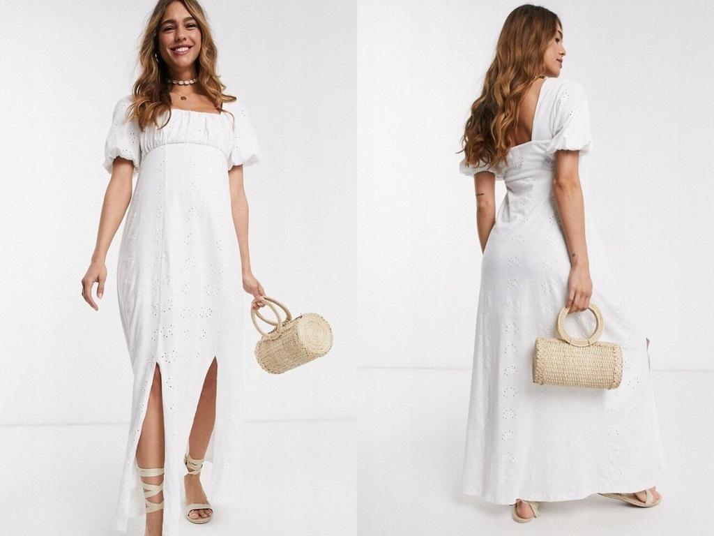 Biała sukienka maxi z dekoltem i haftem 44