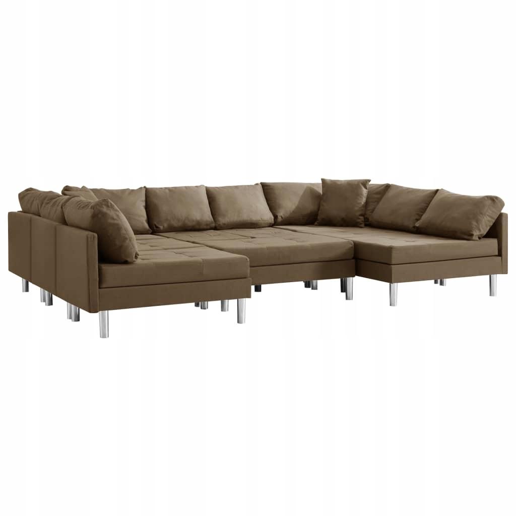 Sofa modułowa, tkanina, brązowa