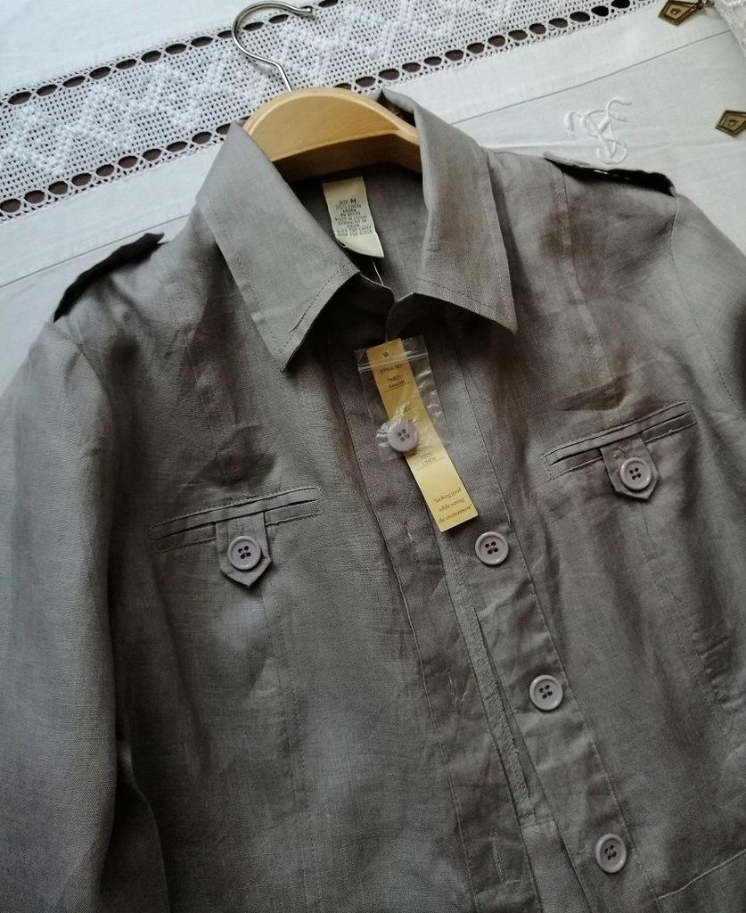 E.col.o.gie LEN wdzianko bluzka koszula narzutka M