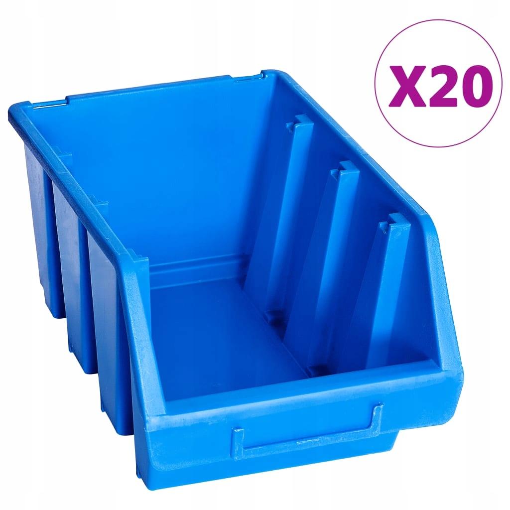 Pojemniki sztaplowane, 20 szt., niebieskie, plasti