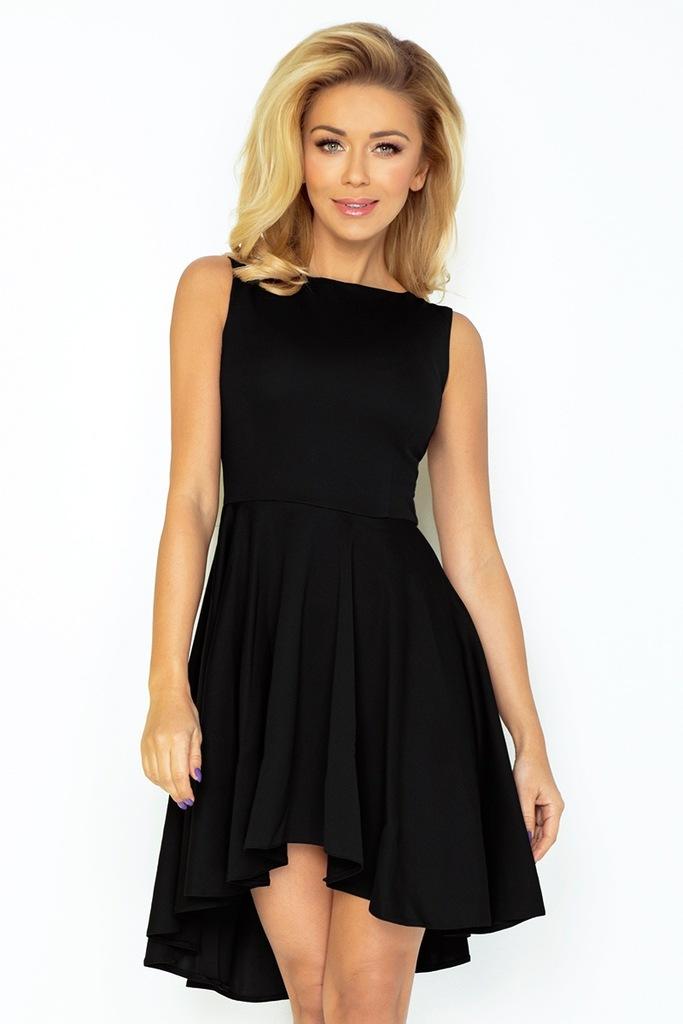 Ekskluzywna sukienka dłuższy tył CZARNA L