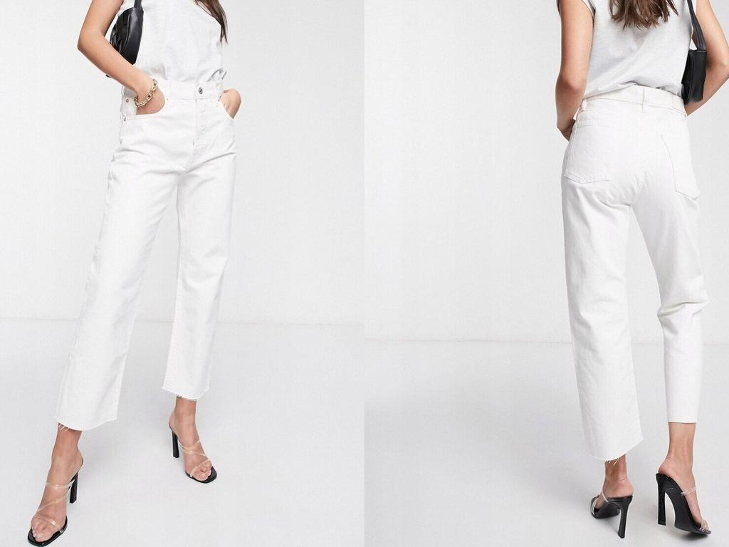 Mango – Białe jeansy z prostymi nogawkami 40