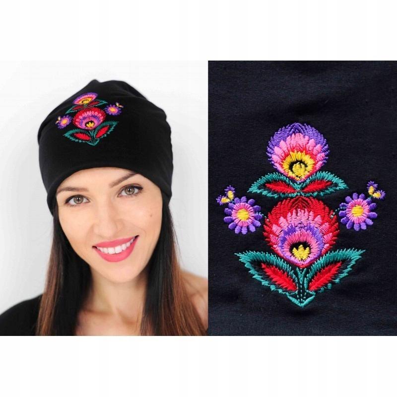Nowa czapka ATMOSPHERE z kwiatowym haftem + gratis