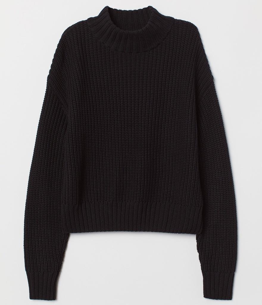 H&M Ciepły Dzianinowy Sweter Czarny S
