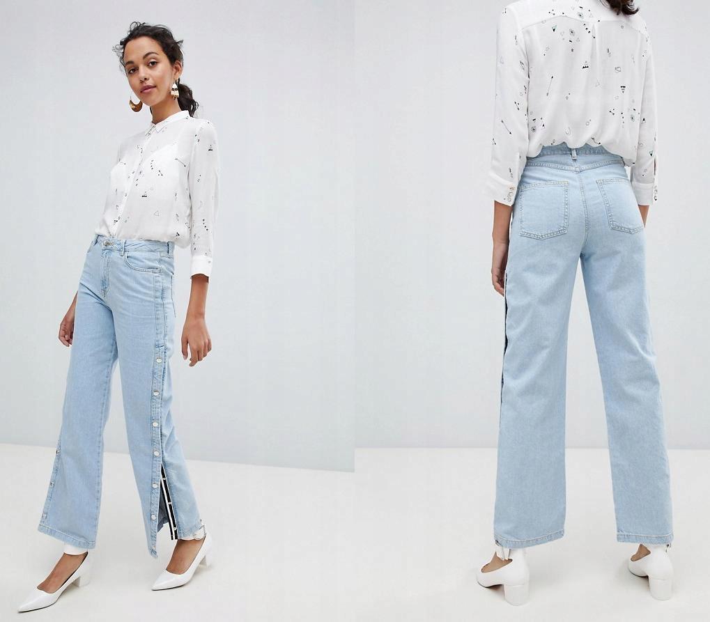 RIVER ISLAND Jasnoniebieskie jeansy zatrzaski (36)