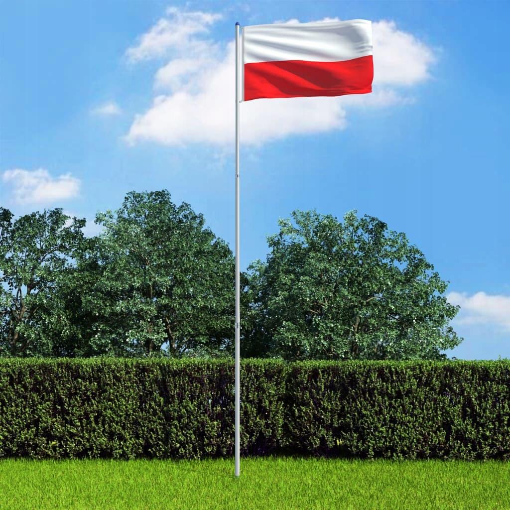 Flaga Polski z aluminiowym masztem, 6 m