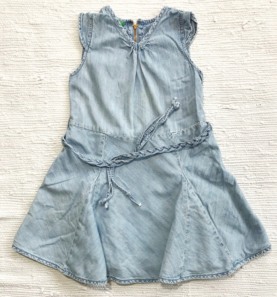 BENETTON sukienka jeansowa XS/110 rozkloszowana