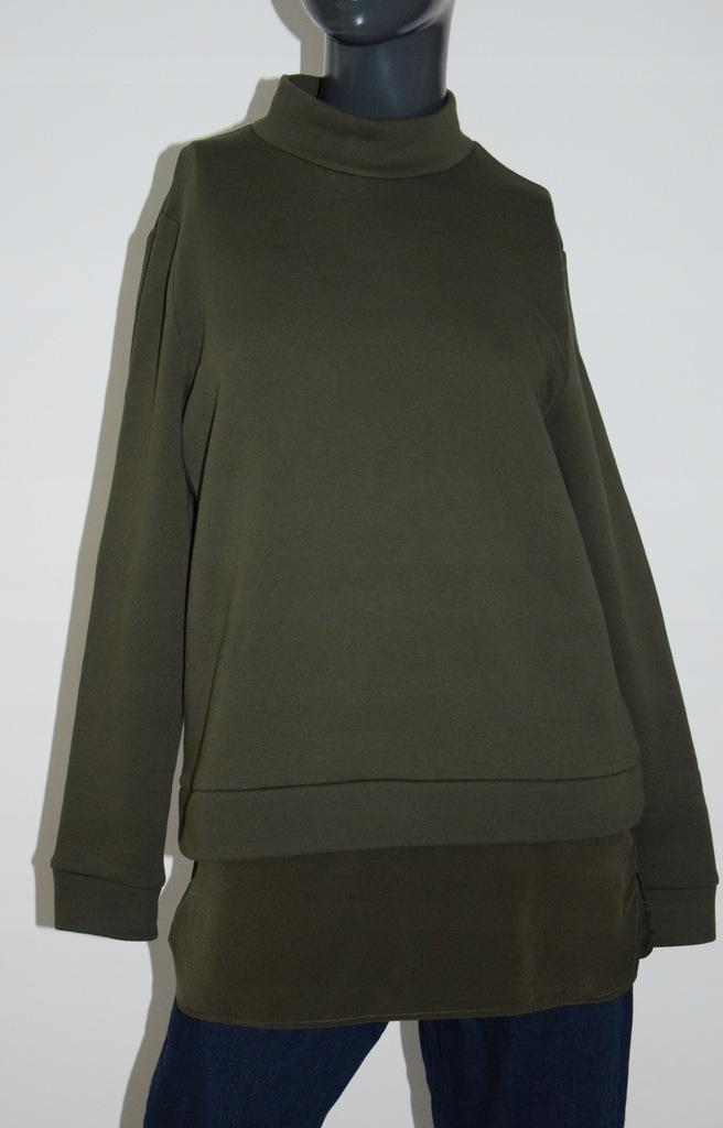 cos bluza bawełna panel jedwab khaki r. 36/S