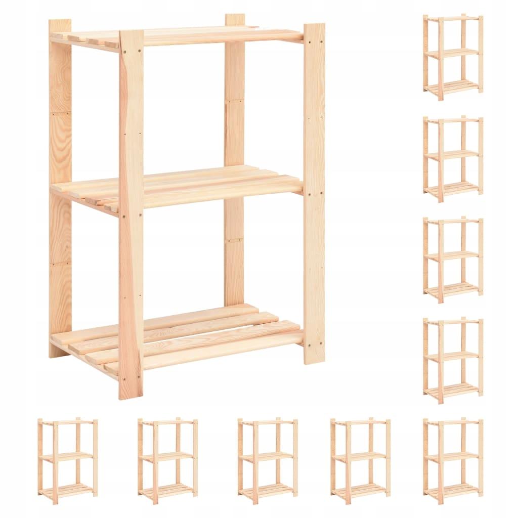 Regały z 3 półkami, 10 szt., 60x38x90 cm, sosna, 1