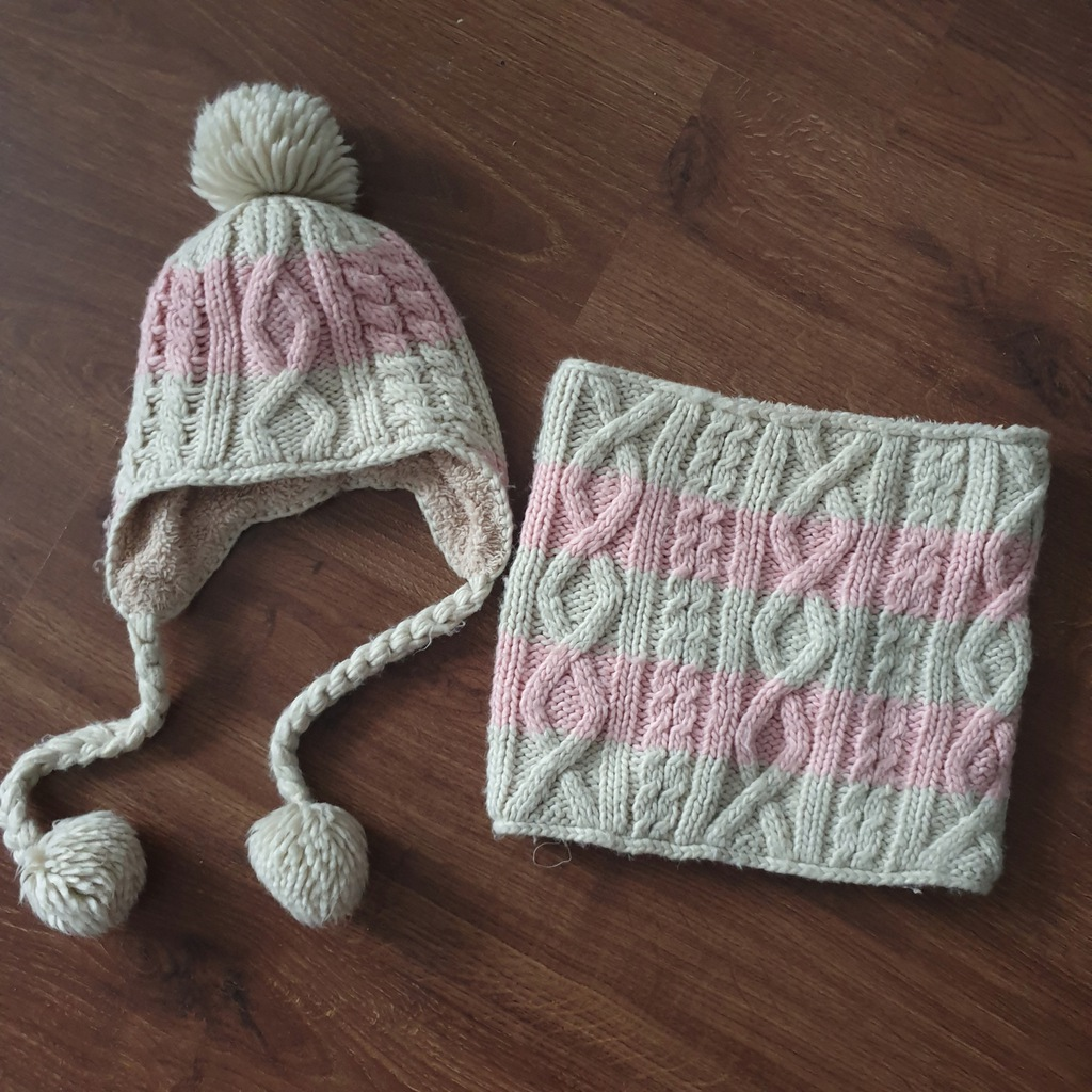 Next czapka i komin na futerko roz. 7-10 lat