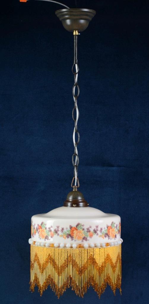 Urocza lampa porcelana koraliki kwiaty Portugal471