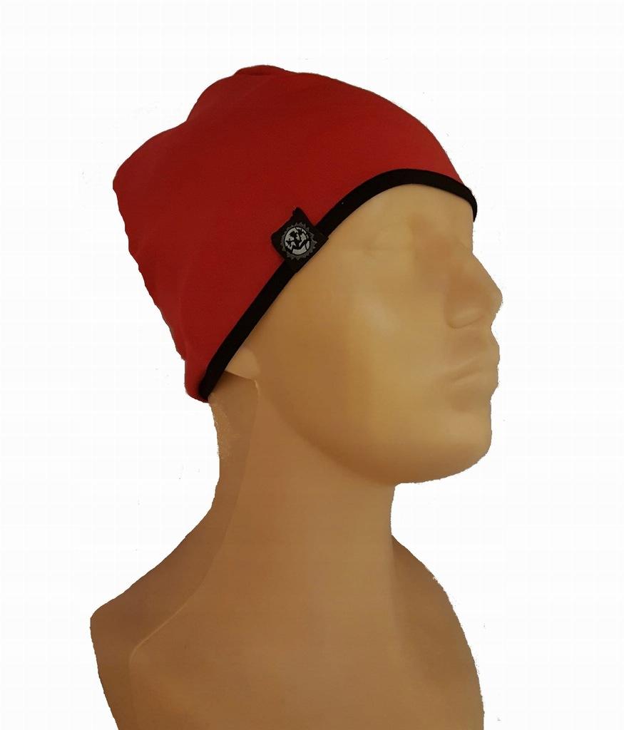 Czapka Stretch Montano z lamówką (kolor: czerwony)