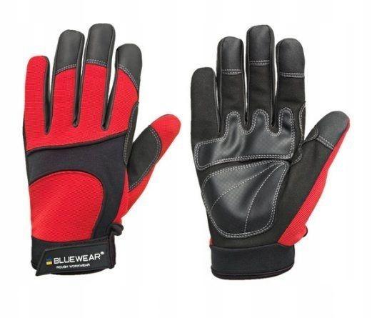 Rękawice monterskie roz 10 wzmocnione EN388 RED sw