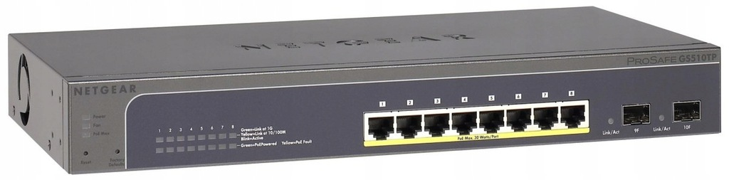 Switch NETGEAR GS510TP-100EUS (8x 10/100/1000Mbps)